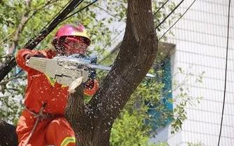台风后温岭大面积停电 消防员为抢供电保驾护航