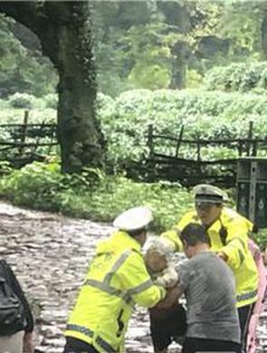 杭州交警救出冒雨爬龙井山被困的9人