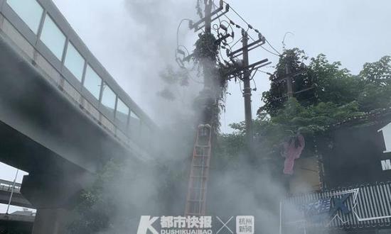 杭州城区发生5起电线电箱事故 雨天出行要远离电线