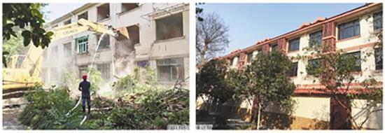 拆楼现场(左图)和重建后的新楼(右图)
