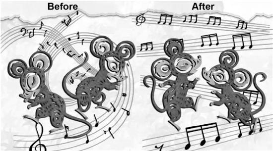 图片以中国剪纸的风格展示了自闭症模型小鼠光遗传治疗前后的两种状态。左边的两只小鼠在社交时由于脑电波异常不能顺利交流,所以失落惊慌。但是,当接受了特定频率的光遗传刺激治疗,小鼠们开始载歌载舞了(社交)。图片由罗建红课题组提供。