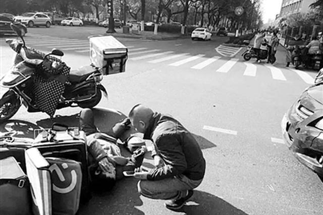 杭州一外卖员送餐路上发生意外 工伤赔偿难