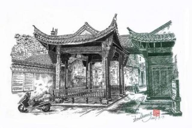 金华七旬老人用钢笔画旧景走红 耗时150小时
