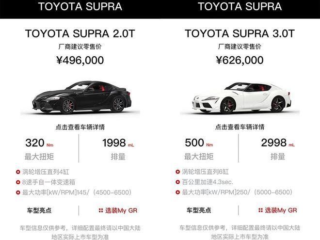 丰田SUPRA正式上市 中国售价49.6万元和62.6万元