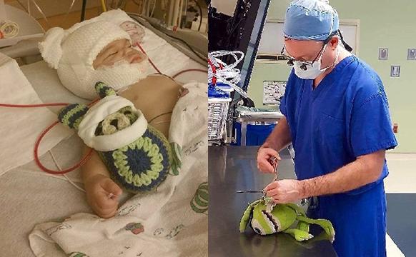 儿科医生为宝宝和他们的玩具一起做手术