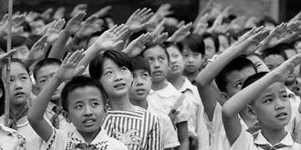老照片:80年代北京小學開學