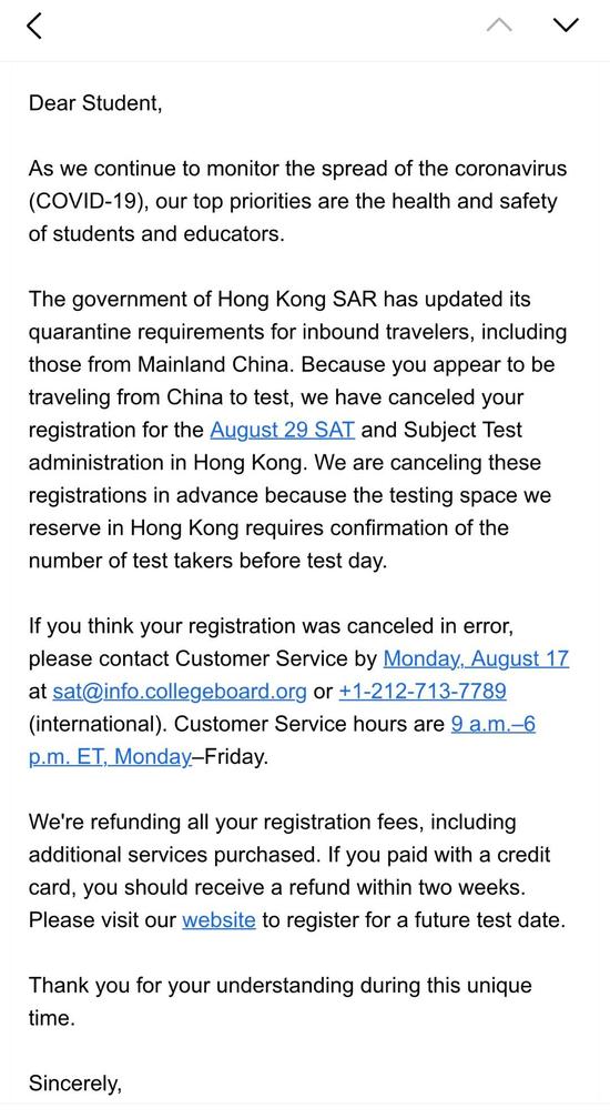 中国大陆考生8月香港SAT考试或将取消