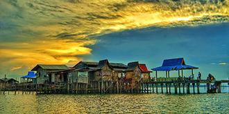 与落日相逢的海上网红餐厅
