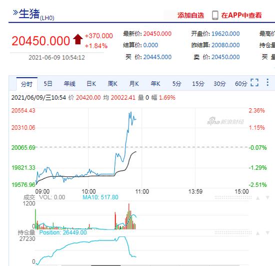 快讯:生猪期货盘中直线拉升涨近2%