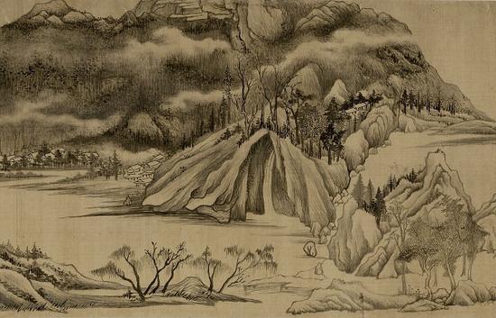 明 董其昌《烟江叠嶂图》局部 上海博物馆藏