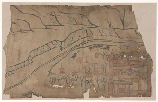 圖8 僧院圖 P.t。 993,吐蕃時期(786—848),法國國家圖書館藏