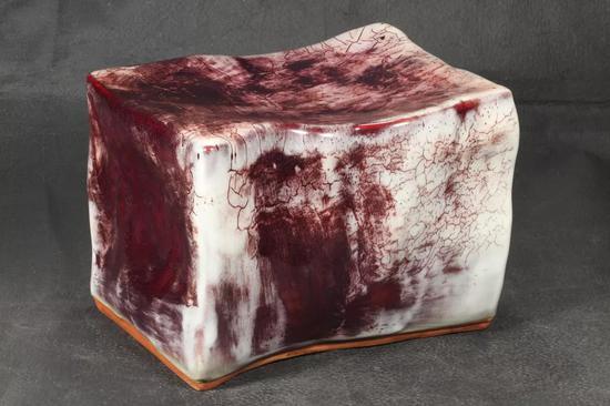 钧瓷作品《基石》月白釉红斑基石