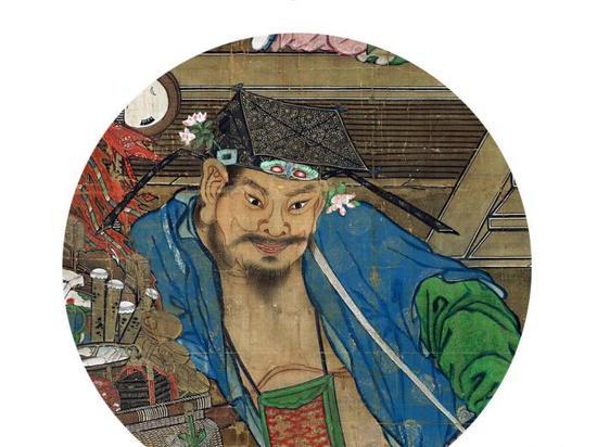 南宋畫家蘇漢臣《貨郎圖》中鬢邊簪花的男子