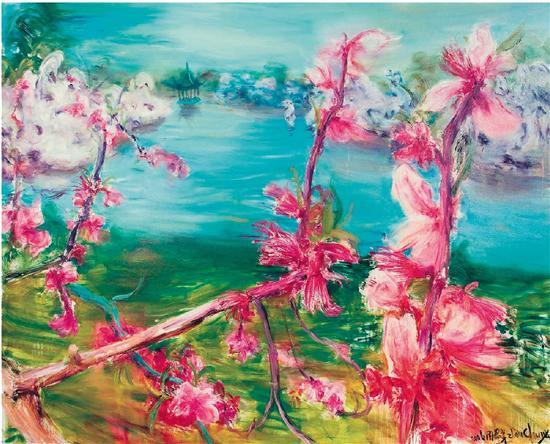 周春芽 桃花风景系列2006―苏州桃花 2006年作 布面油画