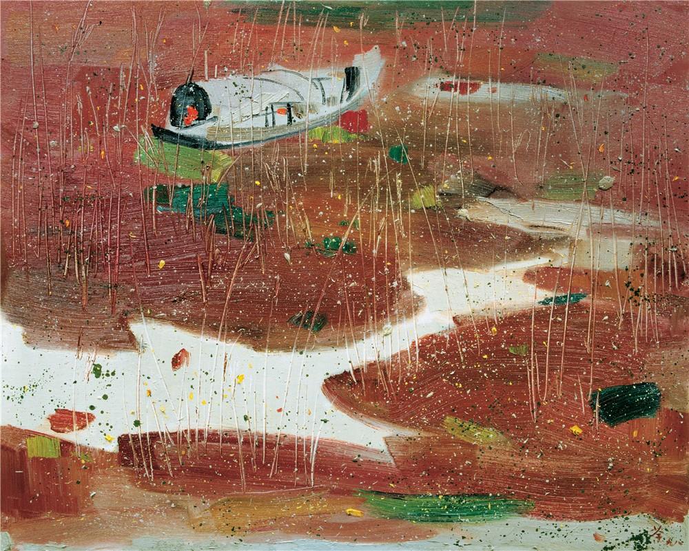 棄舟 1998年 吳冠中 80×100厘米 油畫