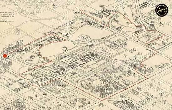 老北京手绘二环地图