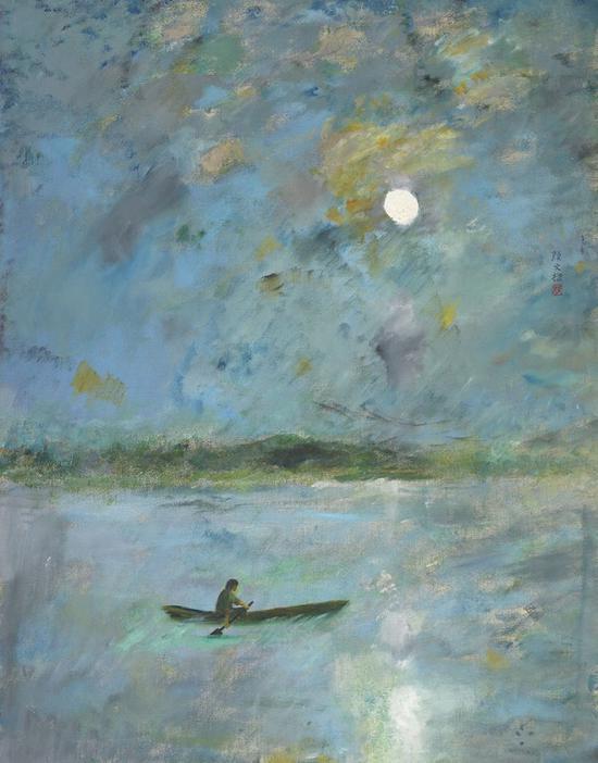顏文樑 《月夜泛舟》油畫布面 1983年