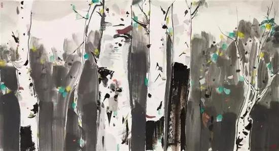 吴冠中《白桦》水墨设色 纸本 96.3x179cm 1988年作