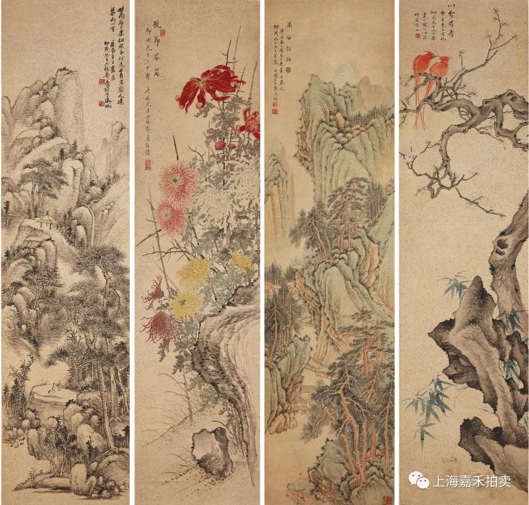江寒汀·張石園·繆谷瑛·吳待秋   祝壽圖   134.5×33cm