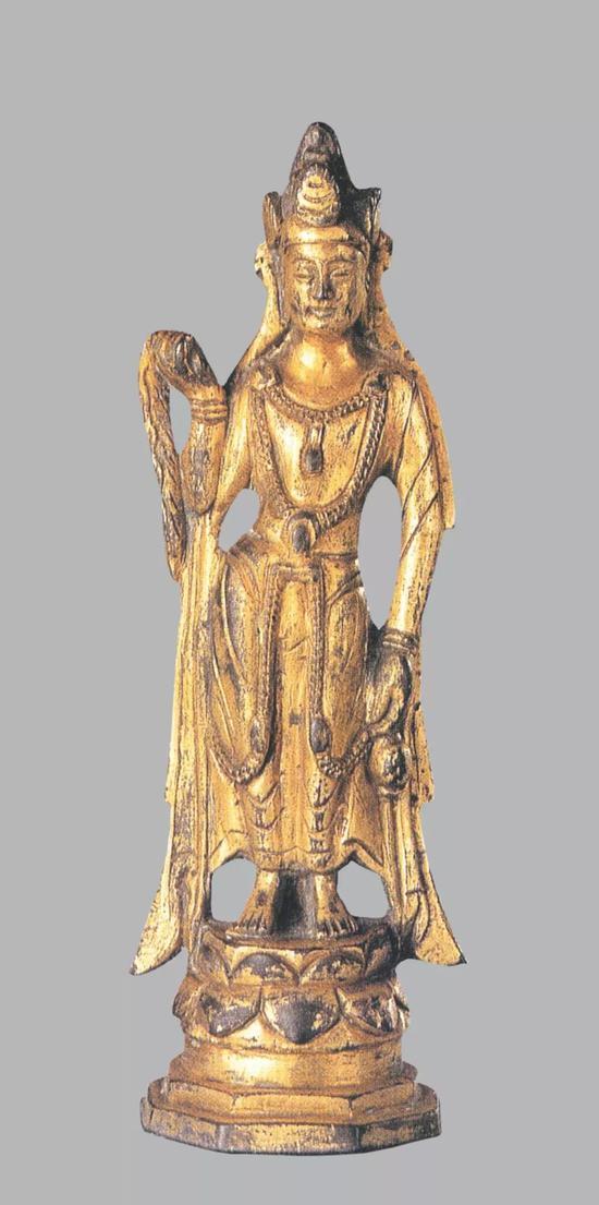 ▲唐 銅鍍金觀音菩薩像 高15.2厘米 日本新田氏舊藏