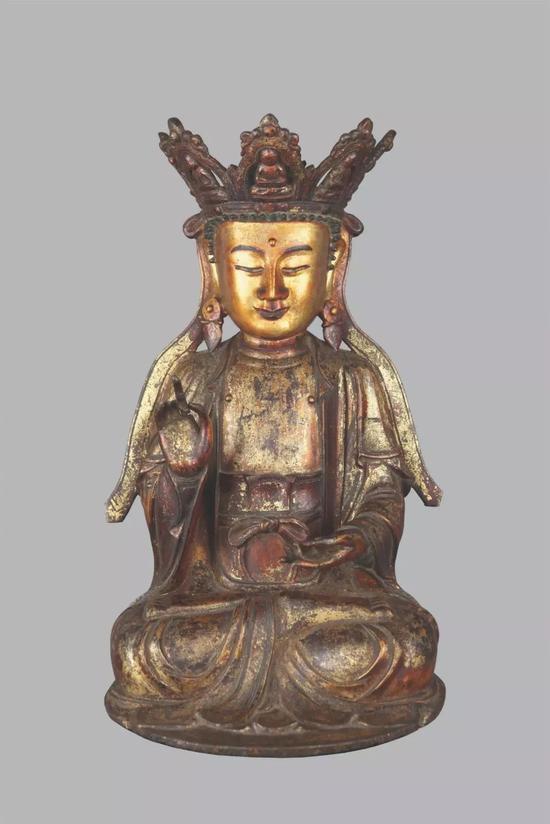 ▲明 銅漆金觀音菩薩像 高36厘米 國內收藏家藏