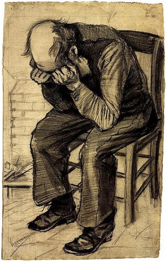 梵高《磨损》(Worn Out)素描 1882年 网络图