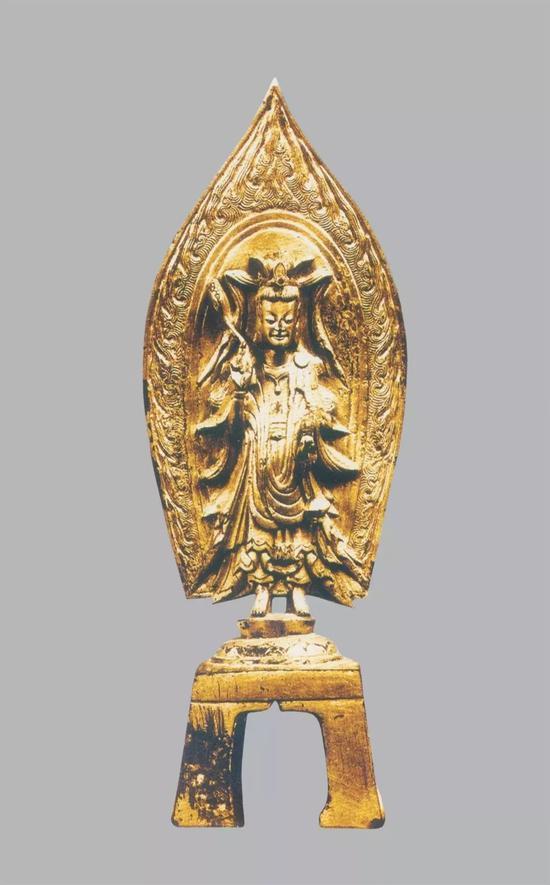 ▲北魏熙平三年(518年) 洞鍍金觀音菩薩像 高27.1厘米 日本收藏家藏