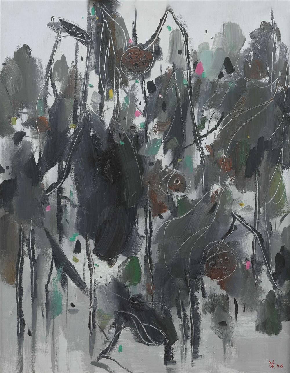 荷塘春秋 1996年 吳冠中 92×73厘米 油畫 中國美術館藏