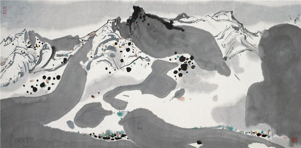 春雪 1983年 吳冠中 69×137厘米 紙本水墨設色 中國美術館藏