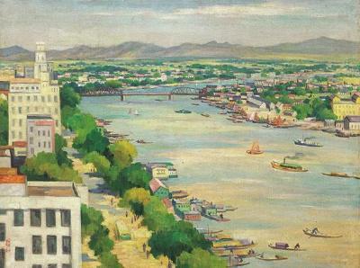 周碧初《俯瞰珠江》,油畫,1961