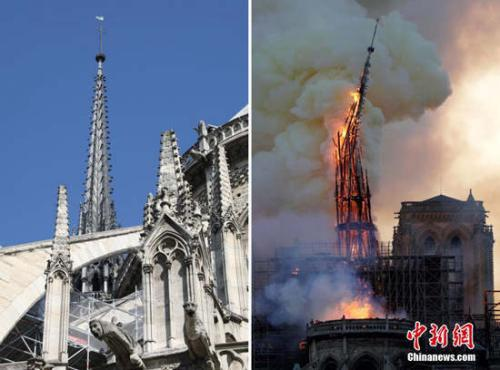 法國巴黎圣母院發生大火,標志性的尖塔在大火中被燒毀。