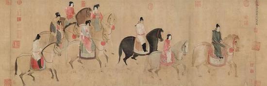宋徽宗《摹張萱虢國夫人游春圖》遼寧省博物館藏