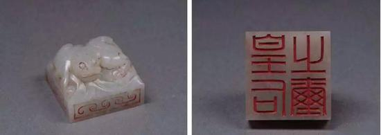 """▲ """"皇后之玺"""",高2厘米,边长2.8厘米,重33克,陕西历史博物馆藏"""