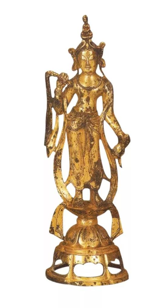 ▲現代仿唐 銅鍍金觀音菩薩像