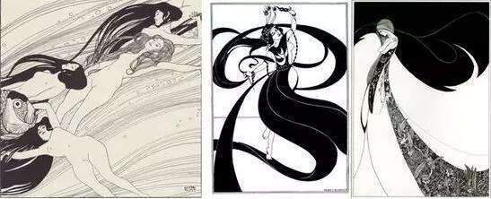 从左至右:克林姆特《鱼血》1898比亚兹莱《舞者》克林姆特《芭蕾舞演员》