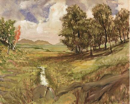 李铁夫 山坡下的小溪 63.2×78.5cm 布面油彩