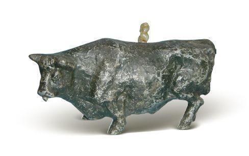 [清]錫鑄型野韻牛硯滴壺 高11.5厘米
