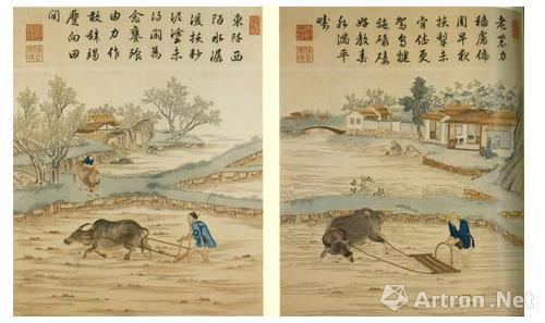 清乾隆 御制耕织图绣屏一套八件(部分),佳士得香港2004年4月26日拍品356号