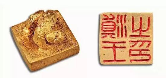 """▲ """"滇王之印""""边长各2.4厘米,高2厘米,重90克,中国国家博物馆藏"""