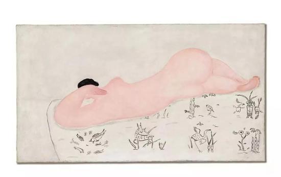 常玉《中國花布上的粉紅裸女》