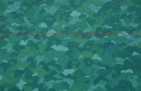 《綠云》布面丙烯 120×80CM 2016 亢世新