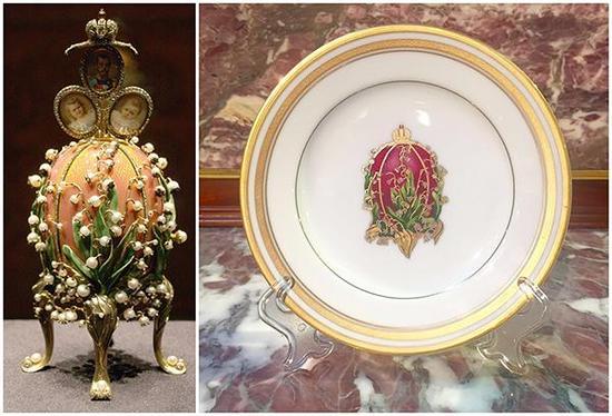 圖左:1898 幽谷百合彩蛋 俄羅斯富豪維克托。斐克塞伯格收藏 圖右:法貝熱彩蛋盤 西堤舊藏