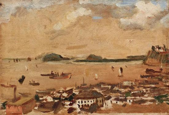 Lot.746 吕斯百(1905-1973) 扬子江上    木板油画 20×29.3cm。    来源:油画家宋征殷先生旧藏