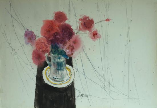 金立德《花》水彩2011年