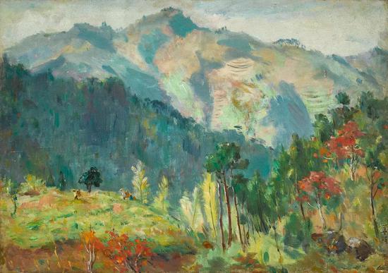 Lot.749 胡善馀(1909-1993) ?#35282;?1964 年    布面油画 45.5×64.4cm。