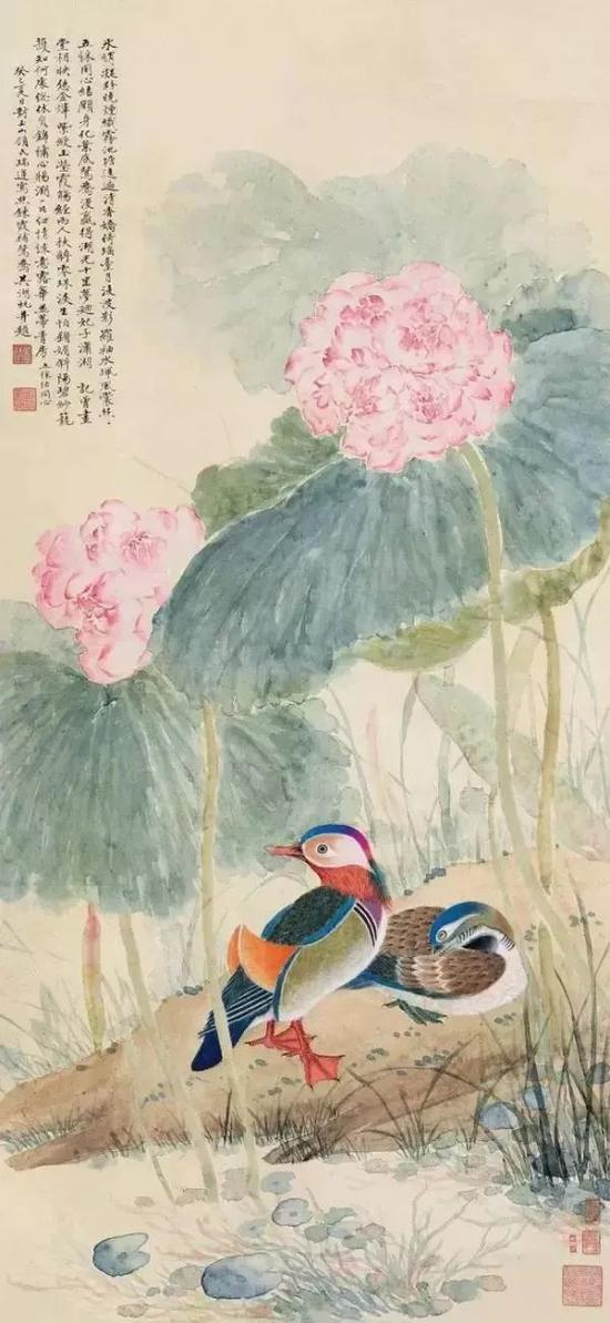 周錬霞、吳湖帆合作畫《荷花鴛鴦》