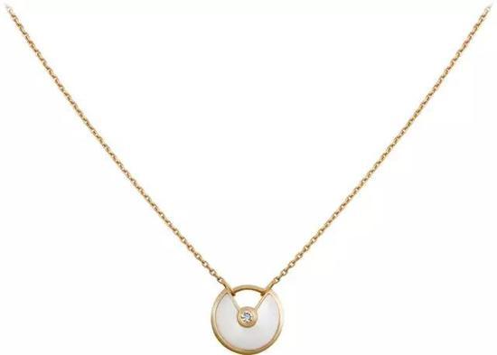 AMULETTE DE CARTIER项链,超小号款18K黄金,钻石,白色珍珠母贝