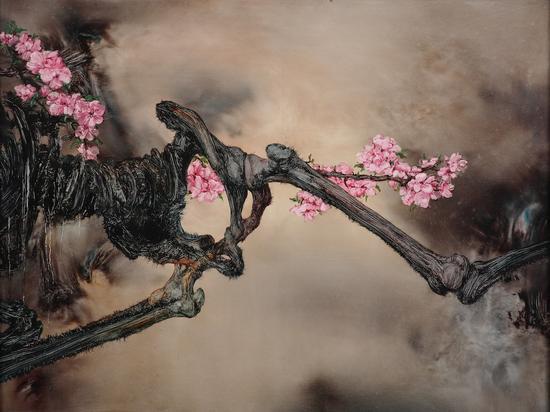 孟濤 骨與花 No.1 布面油畫 130cmX97cm 2012