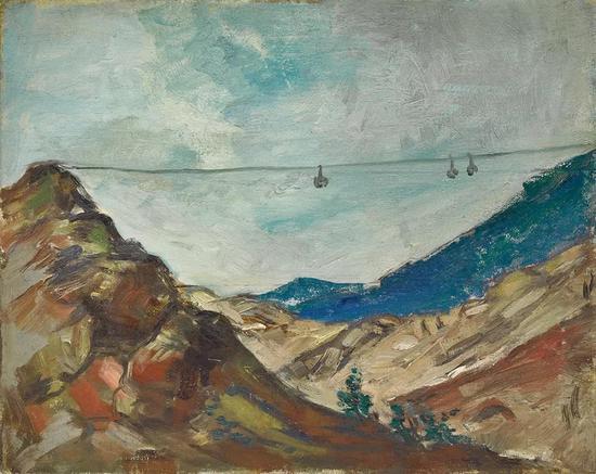 Lot.751 黄显之(1907-1991) 运矿缆车 1958 年    布面油画 32.5×40.8cm。    来源:现藏者直接得自画家家属