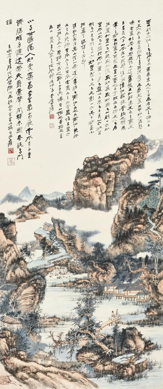張大千《溪山游屐圖》  1946年作  設色紙本,立軸